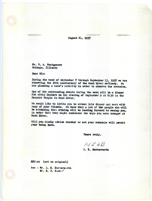 Letter Announcing 50th Anniversary Plans for Wood River Standard Oil