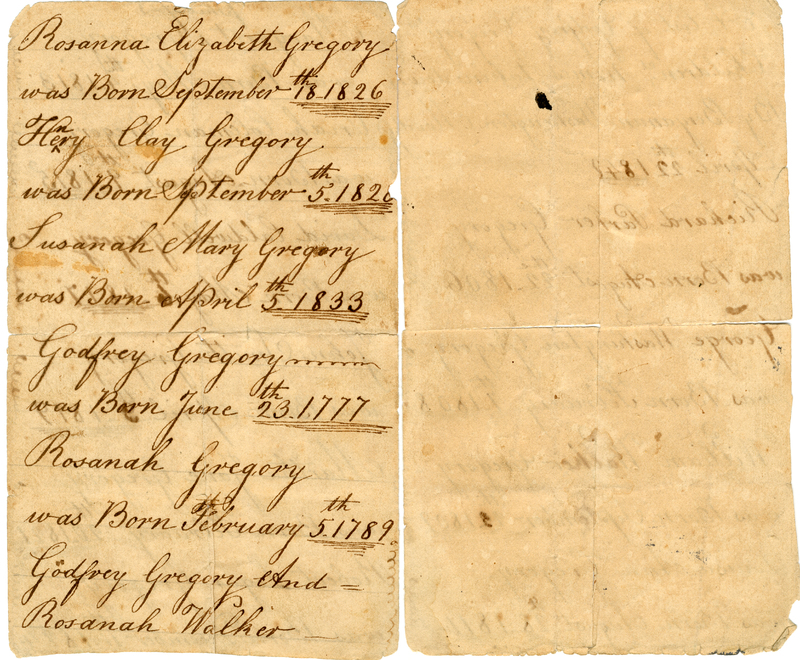 Genealogy document for the Gregory family, circa 1777-1840