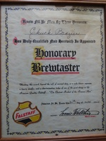 1955 Falstaff Brewery Honorary Brew Master Certificate