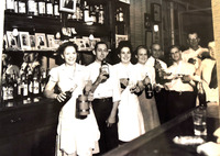 Ethel and Jim Hirsch Welcoming Returning Soldiers after World War II in a Highland Bar