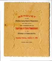 """Menu for the """"Banquet of the Madison County Board of Supervisors,"""" 1895"""