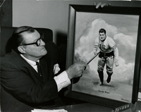 George Musso with his portrait painted by William Dabes