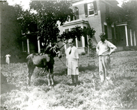 Girl with a horse in front ofthe Mudge home (Oakdale) on the Mudge farm in Grantfork