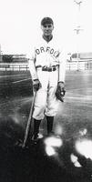 1943 Mike Semanisin in Norfolk Team Uniform with Bat