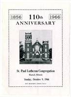 St. Paul Lutheran Church 110th Anniversary History Pamphlet