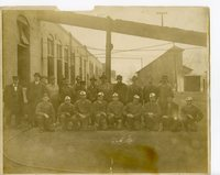 Group of coal miners standing outside the mines in Glen Carbon, Illinois