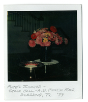 Photograph of flowers in a stair hall in 1979