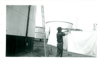 1952 Man Hanging Laundry During Standard Oil Strike