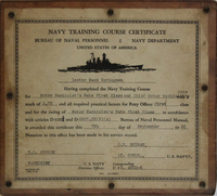 U.S. Navy Training Course Certificate, Awarded to Lester Mack Springman in 1945
