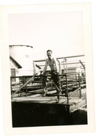 1952 Man Leaning Against Railing in Standard Oil Refinery Yard During Strike