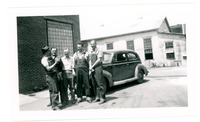 1952 Five Men Laughing Outside of Building During Standard Oil Company Strike