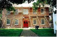 Scaffolding on the Stephenson House during resoration in the early 2000s