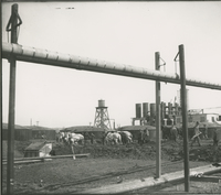 Trumble 1 and 2 View from the Southwest with Horses  during the 1917-1918 Construction of the Wood River Refinery
