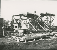Trumble 1 Furnace Brickwork 1/3 Complete  during the 1917-1918 Construction of the Wood River Refinery