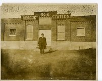 Mr. Daenzer coal mine #2 superintendent standing in front of the first aid station