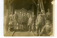 Coal miners in front of the entrance to a mine in Glen Carbon