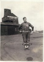 High School Senior Louis Neptune in Coal Miner Baseball Uniform