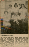 1974 Edwardsville Intelligencer Clipping of Six Generations of the Thorpe Family