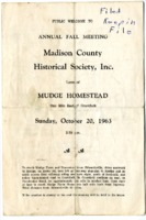 Program for the 1963 Annual Fall Meeting of the Madison County Historical Society, Inc