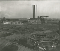 Boiler House and Re-Run Tanks from Agitators  during the 1917-1918 Construction of the Wood River Refinery