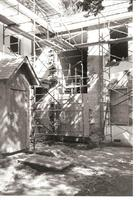 Scaffolding on the back of the Stephenson House during resoration in the early 2000s