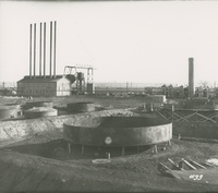Boiler House Re-run Tanks under construction   during the 1917-1918 Construction of the Wood River Refinery