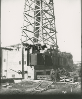 Boiler House Raising Stacks  during the 1917-1918 Construction of the Wood River Refinery