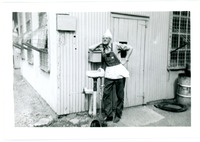 1952 Man Leaning Against Exterior Building Wall During Standard Oil Company Strike