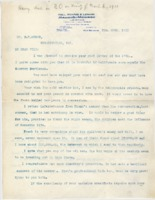 Personal letter to E.W. Mudge, February 20, 1911.