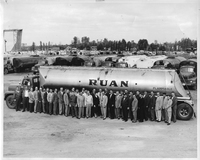 Ruan Trucking Company Drivers, Employees, and Trucks at Wood River Company Terminal in the 1950s
