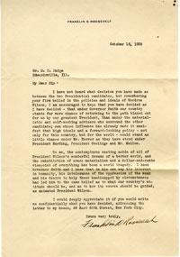 Letter from Franklin D. Roosevelt to D. H. Mudge Sr.