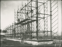 Steel frame of CWT No. 1 during the 1917-1918 Construction of the Wood River Refinery