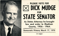 Political Business Card for Dick Mudge for the 1970 Democratic Primary State Senator Campaign