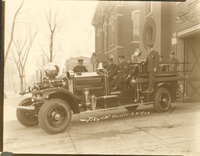 Collinsville Fire Department's Firetruck and Crew in front of the Firehouse in Collinsville in 1926