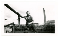 1952 Man Posing for Photograph in Refinery Yard During Standard Oil Strike