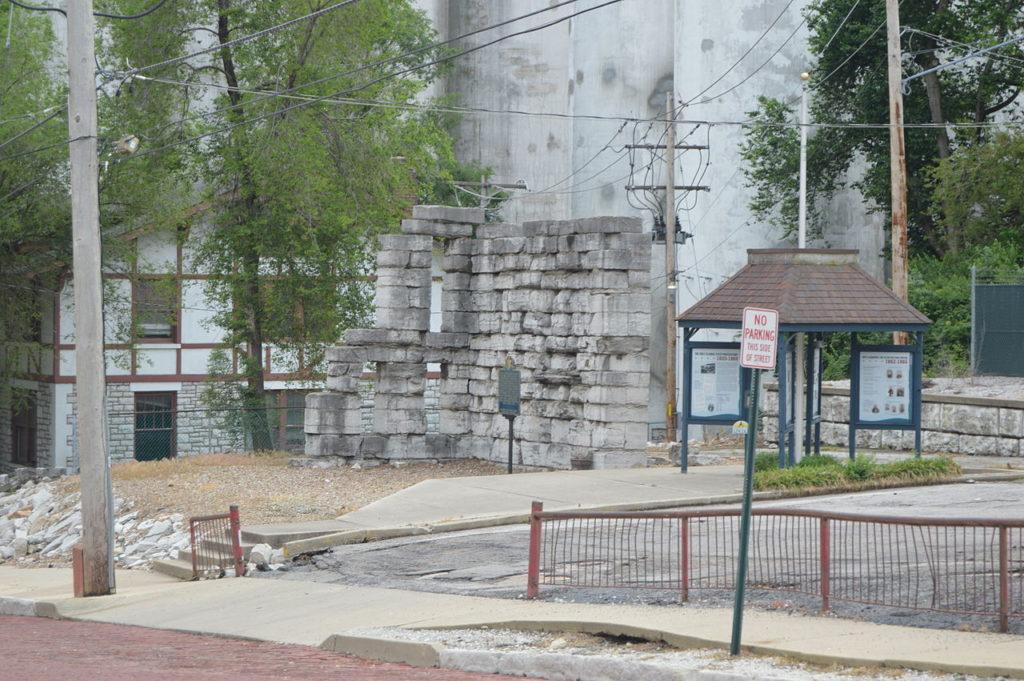 Small corner remains of the Alton Military Prison in 2014